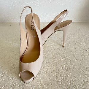 Guess Beige Patent Leather Slingback Pumps